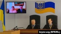 Допрос крымчанки Оксаны Медиевой в Оболонском суде Киева, 21 марта 2018 года