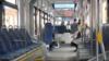 Надпись на экране в московском трамвае отправляет пассажиров по домам