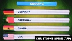 Në ekran shihen kombëtaret e Grupit G të Kampionatit Botëror të Futbollit në Brazil