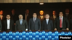 Armenia - President Serzh Sarkisian (second from right), Gagik Tsarukian and other political leaders attend a congress of the Prosperous Armenia Party in Yerevan, 17Mar2012.