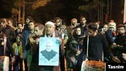 Fellow townsmen in Kerman mourn Qassem Soleimani.