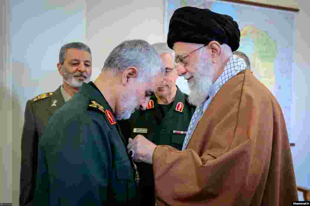Soleimani's growing authority within Iran's military establishment was apparent when he was awarded the Order of Zolfiqar medal on March 11, 2019, Iran's highest military honor. It was the first time any commander had received the medal since the Islamic republic was established in 1979.