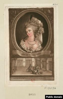 Николь Легэ д'Олива. Офорт. 1786-1789. В нижней части гравюры изображена первая встреча графа де Ламотта с Николь и ее сыном в саду Пале-Рояля.