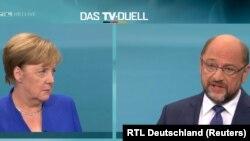 Фрагмент теледуэли между Ангелой Меркель и Мартином Шульцем