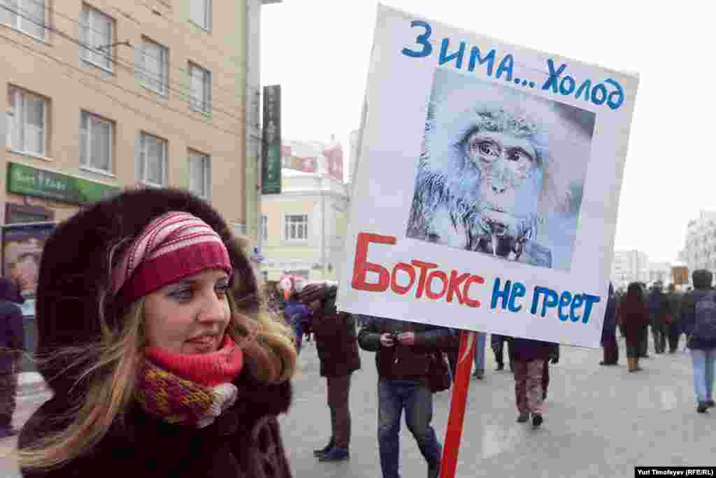 """""""Cold winter ... Botox doesn't help."""" The slogan is a reference to rumors that Putin uses Botox."""