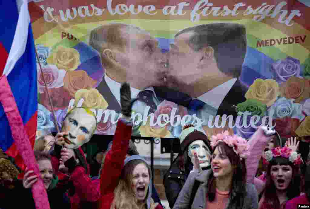 Protesters in London take part in a demonstration against Russia's antigay laws outside the Russian Embassy on February 14. (Reuters/Neil Hall)
