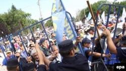 Demonstrație sindicală în fața Palatului Cotroceni
