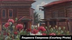 """Михаил Крошицкий. """"Дом с цветами. Томск"""". 1944 г."""