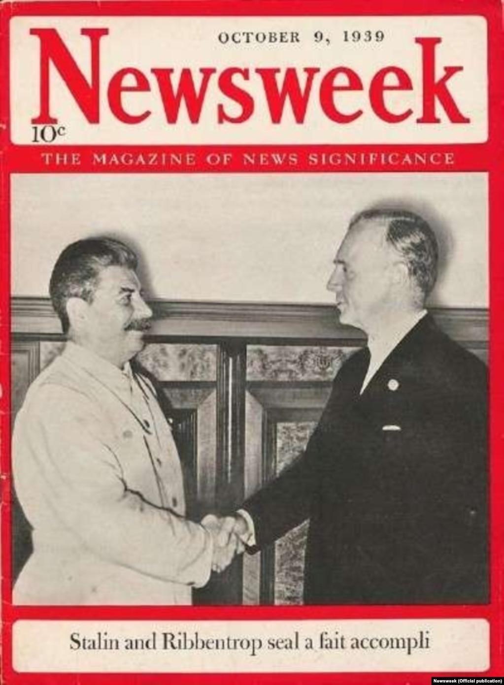 Сталін і фон Рыбэнтроп на вокладцы амэрыканскага часопісу Newsweek 9 кастрычніка 1939 году.