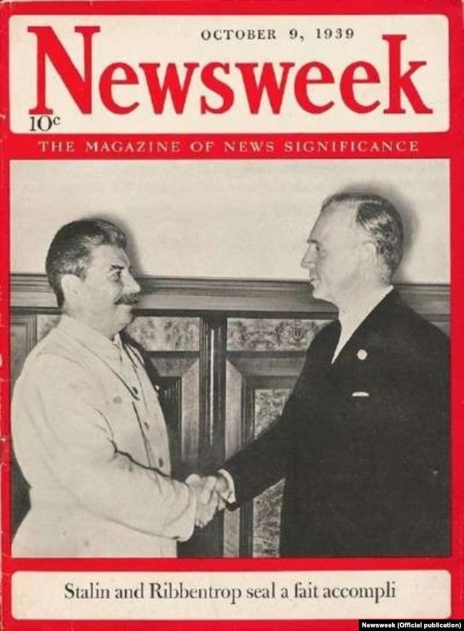 "Stalin and von Ribbentrop on the cover of ""Newsweek"" on October 9, 1939"