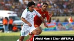 من مباراة العراق والأردن في أربيل