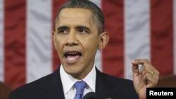Президент США Барак Обама выступает с речью перед конгрессом. Вашингтон, 12 февраля 2013 года.