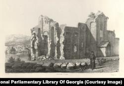 Руины храма Баграта в городе Кутаиси в западной Грузии. Здание «было разрушено в 1691 году турками, - писал Дюбуа, - которые взорвали крепость и окружающие постройки».