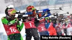 Ілюстрацыйнае фота. Надзея Скардзіна на першым этапе эстафетнай гонкі на Алімпійскіх гульнях 2018 у Пхёнчхане