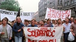 Poland – Hundreds of young anti-government demonstrators staged a protest march in Central Warsaw on June 30, 1989 to oppose Polish leader General Wojcieh Jaruzelski.