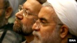 حسن روحانی، رئیس جمهور، و علی لاریجانی، رئیس مجلس شورای اسلامی.