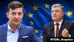 Кандидат в президенты Владимир Зеленский и кандидат в президенты и действующий президент Украины Петр Порошенко