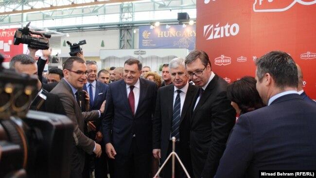 'Dodik je najpopularniji političar među Hrvatima u BiH i to je hrvatski politički problem' (Fotografija: Dodik, Čović i Vučić u Mostaru, 2018)