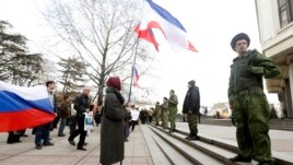 Ukraine -- Pro-Russian supporters take part in a meeting in Simferopol, March 6, 2014