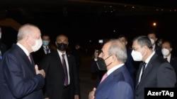 Թուրքիայի նախագահ Ռեջեփ Թայիփ Էրդողանը ժամանել է Ադրբեջան, Բաքու, 15 հունիսի, 2021թ.