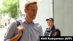 Aleksei Navalny arrives at the courthouse in Moscow on May 15.