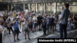 Protest studenata ispred Filizofskog fakulteta u Beogradu