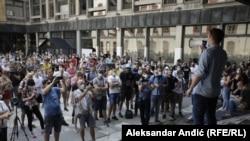 Protest studenata ispred Filizofskog fakulteta u Beogradu, 3. juli 2020.