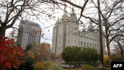The Salt Lake Mormon Temple in Salt Lake City, Utah, the headquarters of The Church of Jesus Christ of Latter-day Saints