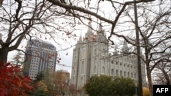 The Salt Lake Mormon Temple in Utah, the headquarters of the Church of Jesus Christ of Latter-Day Saints.