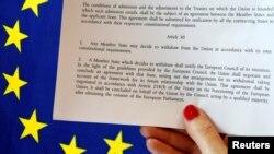 Статья 50 Лиссабонского договора определяет механизм выхода страны и Евросоюза
