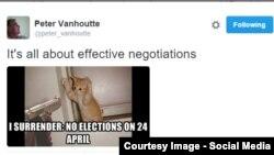 Peter Van Houte with Twitter message