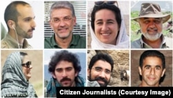 Iranian ecologists and environmental activists who have been jailed for more than a year, (from top-left clockwise): Sam Rajabi, Houman Jowkar, Niloufar Bayani, Morad Tahbaz, Morteza Arianejad, Taher Ghadirian, Amir Hossein Khaleghi, and Sepideh Kashani