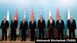 Foreign ministers pose for a photo during a meeting of the Shanghai Cooperation Organization (SCO) Council in Astana in April.