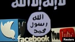 Սոցիալական ցանցերի լոգոները՝ «Իսլամական պետության» դրոշի ֆոնին, արխիվ