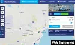 Останнім місцем перебування плавучого крана «Чорноморець-27» значиться порт «Керч»