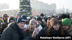 Алексей Навальный на акции в Кемерове