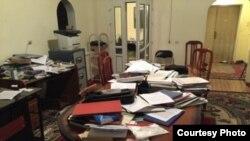 Офис «Бир дуйно Кыргызстан» в городе Оше после обыска.