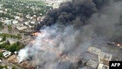 Қаланың пойыз апатқа ұшыраған бөлігі. Лак-Мегантик, Канада, 6 шілде 2013 жыл.