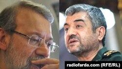 محمد علی جعفری (راست)، فرمانده سپاه و علی لاریجانی، رییس مجلس شورای اسلامی