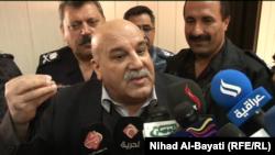 أمين عام وزارة البيشمركه في حكومة إقليم كردستان العراق جبار ياور يتحدث للصحفيين في كركوك