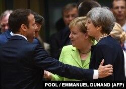 Трудные переговоры по Брекзиту. Президент Франции Эммануэль Макрон, канцлер Германии Ангела Меркель и премьер-министр Великобритании Тереза Мэй (слева направо)