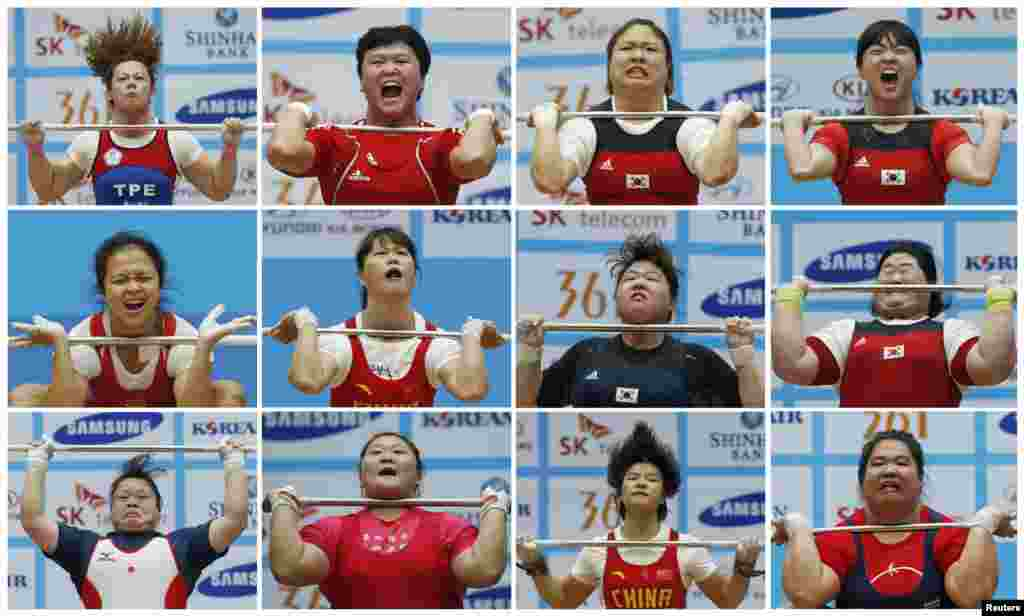 A combination picture shows competitors straining to lift the bar during the women's clean-and-jerk category at the 17th Asian Games weightlifting contest in Incheon. (Reuters/Jason Reed)