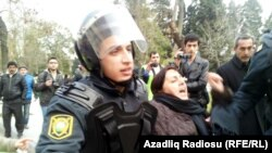 Protesters in Baku are detained after gathering on January 26 to express solidarity with recent protests in the central town of Ismayilli.