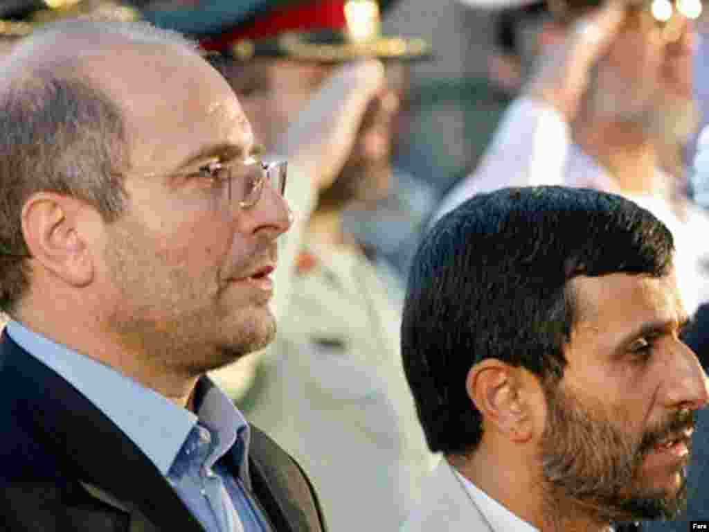 A DARK-HORSE CANDIDATE: Fifty-one-year-old Mohammad Baher Qalibaf (shown here on the left with Ahmadinejad), is a former senior IRGC commander and the mayor of Tehran since 2005. He is considered a moderate conservative. He is reportedly attracting growing support within the clerical establishment because of his management skills. One analyst in Tehran has described him as a man of action who has managed to improve the capital's image. He took just under 14 percent of the vote in the 2005 presidential poll, failing to reach the second round.