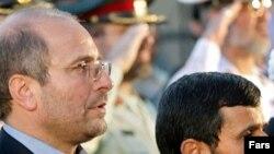 Tehran Mayor Mohammad Baqer Qalibaf (left) with President Mahmud Ahmadinejad (undated)