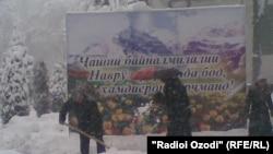 Tajikistan -- Snow fall in Dushanbe city, 19Mar2012