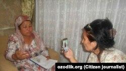 Мсутақил журналист Малоҳат Эшонқулова жабрланган тадбиркордан интервью оляпти
