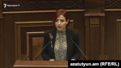 Armenia - Ani Samsonian of the Bright Armenia Party speaks in the parliament, February 13, 2019.