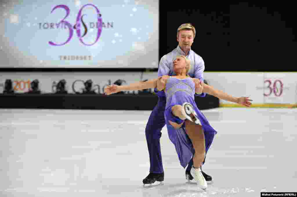 "Torvill, 56, and Dean, 55, reenacted their dance to Maurice Ravel's ""Bolero"" on the same Olympic rink to mark the anniversary of their success."