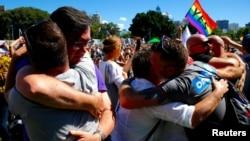 После объявления результатов референдума о легализации однополых браков в Австралии. Сидней, 15 ноября 2017 года